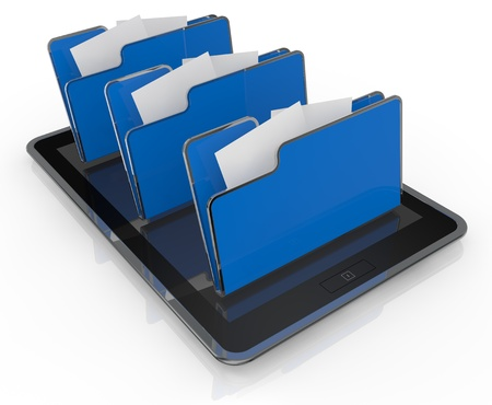 database icon: one tablet pc with three  folder icons (3d render) Stock Photo