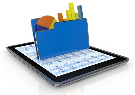 one tablet pc with a computer folder and  bar chart and a pie chart (3d render) photo