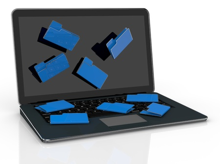 computer notebook with folder icons that fall from the screen (3d render) photo