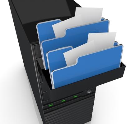 document management: Primer plano de una computadora de escritorio con iconos de las carpetas (3d) Foto de archivo