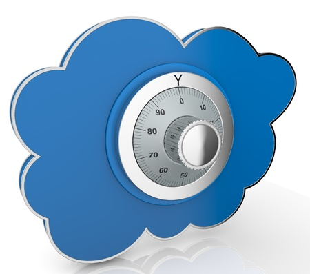 one cloud with a safe lock (3d render) photo
