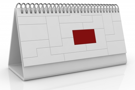 one desk calendar made with puzzle pieces with one piece in red color (3d render) photo