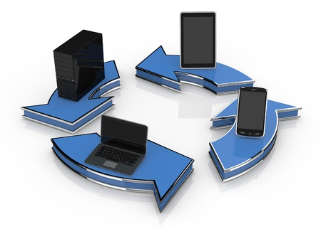 arrows in circle with computer notebook tablet pc and smartphone (3d render) photo