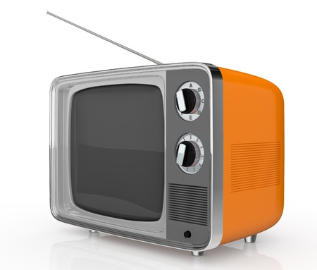 vintage television: closeup of one vintage tv (3d render)
