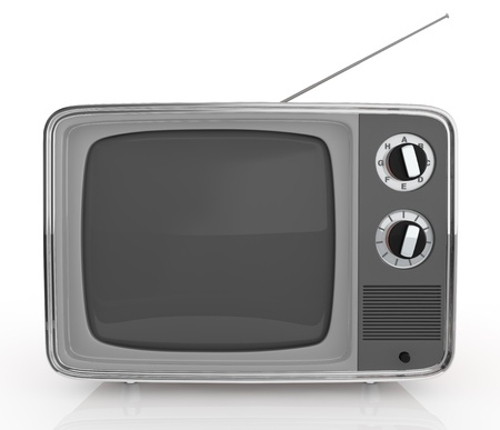 analogs: front view of one vintage tv (3d render) Stock Photo