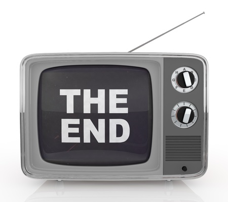 front view of one vintage tv with text: the end, on screen (3d render) photo
