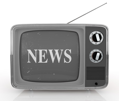 front view of one vintage tv with text: news, on screen (3d render) photo