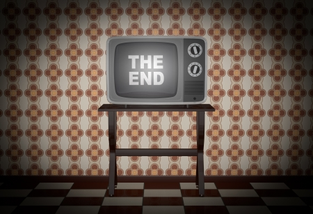 tv room: one room with a decorative paper on the wall and a vintage tv on a table. Text: the end, on the screen (3d render)