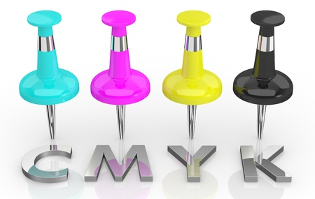 color separation: four pins with colors cyan, magenta, yellow and black, concept of cmyk color model (3d render) Stock Photo