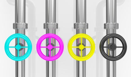color separation: four pipes with valve wheels with colors cyan, magenta, yellow and black, concept of cmyk color model (3d render) Stock Photo