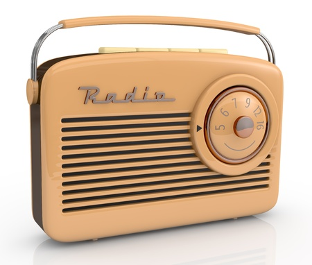 portable audio: close up view of one beautiful vintage radio (3d render) Stock Photo