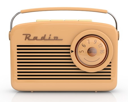 retro music: close up view of one beautiful vintage radio (3d render) Stock Photo