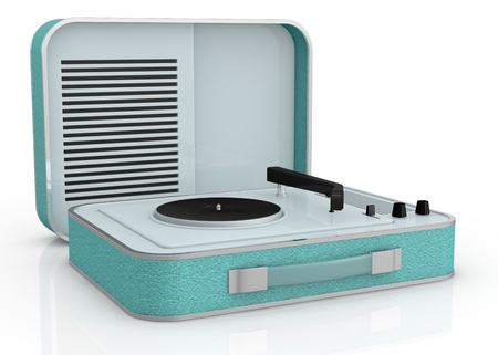 close up view of a vintage record player (3d render) photo