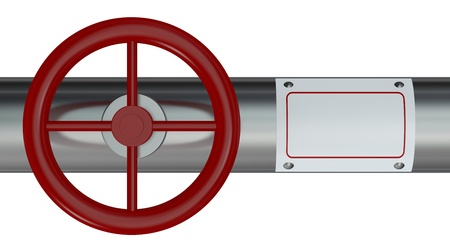valves: one pipe with a red valve and a white label for custom text (3d render) Stock Photo