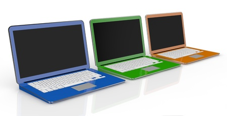 one row of three notebooks in different colors (3d render) photo