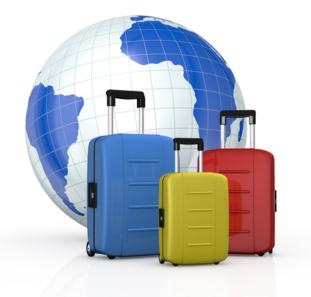 three suitcases in different colors with a world globe on background (3d render) photo
