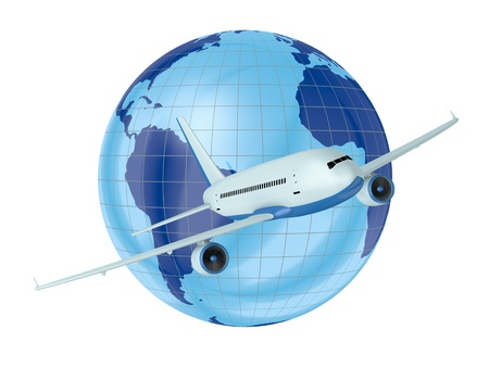 airplane world: one airplane with a world globe in background (3d render)