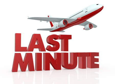 best travel destinations: the text: last minute, with an airplane that fly over it (3d render)