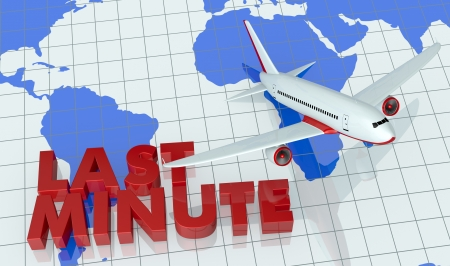 best travel destinations: the text: last minute and a world map with an airplane that fly over it (3d render) Stock Photo