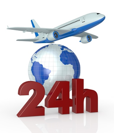 air shipping: the text: 24h with a world globe and an airplane (3d render) Stock Photo