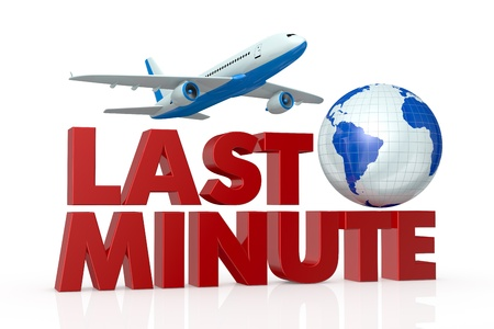 best travel destinations: the text: last minute, and a world globe with an airplane that fly over it (3d render) Stock Photo