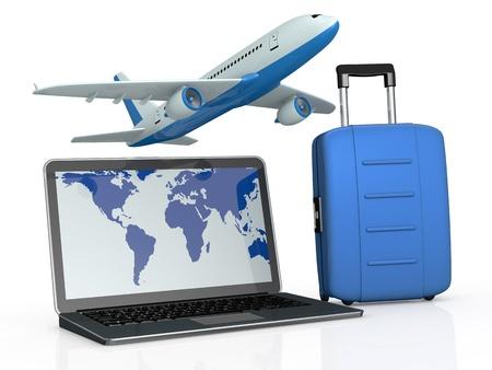 fiestas electronicas: un cuaderno con un avi�n y una maleta. la pantalla muestra el mapa del mundo (3d) Foto de archivo