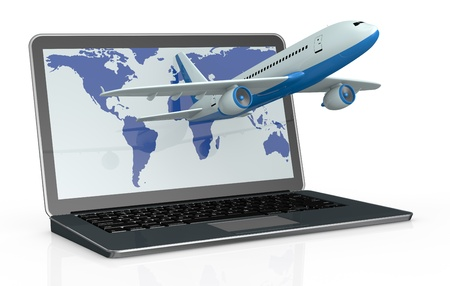 one notebook with an airplane that comes out of it. the display show the world map (3d render) photo