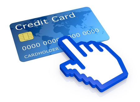 one credit card with an hand cursor icon (3d render) photo