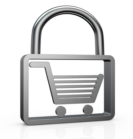 secure shopping: one padlock with a stylized shopping cart inside it (3d render) Stock Photo