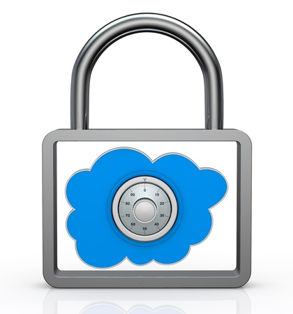one padlock with a cloud inside it, concept of data protection (3d render) photo