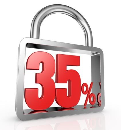 thirty five: un lucchetto con il numero 35 e il simbolo di percentuale al suo interno (render 3d)