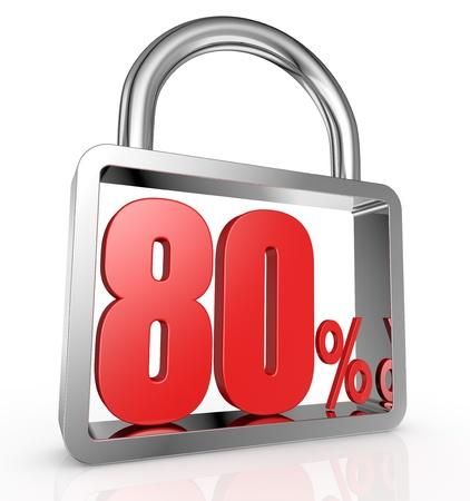 eighty: one padlock with the number eighty and the percent symbol inside it (3d render) Stock Photo