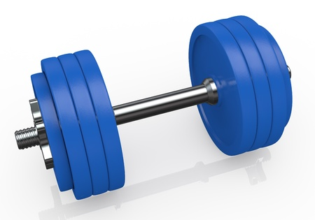 one blue dumbbell with many plates (3d render) photo