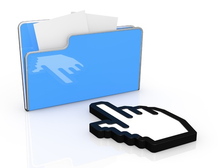 one hand icon pointing to a computer folder (3d render) photo