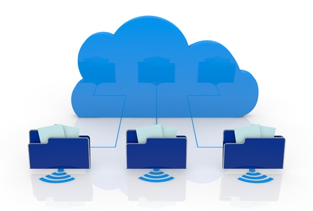 one cloud connected to three computer folders (3d render) Stock Photo - 14508657