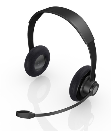 hear business call: top view of one black headset (3d render)