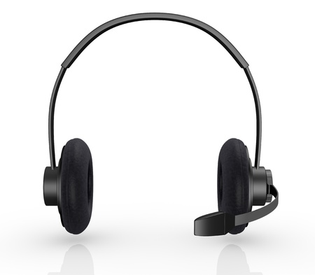 support center: front view of one black headset (3d render)