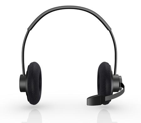 isolado no branco: vista frontal de um fone de ouvido preto (3d rendem) Banco de Imagens