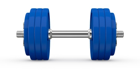 dumbell: front view of a dumbbell (3d render) Stock Photo