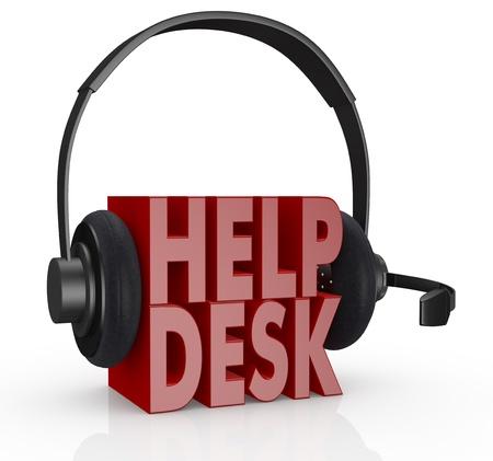 la mesa de ayuda de texto y los auriculares con un micrófono sobre ella (3d render) Foto de archivo