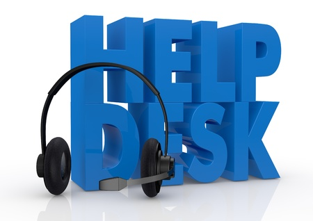helpdesk: the text help desk and headphones with a mic near it (3d render)