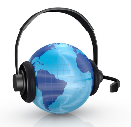 media equipment: one world globe with headphones and mic, concept of global communications (3d render)