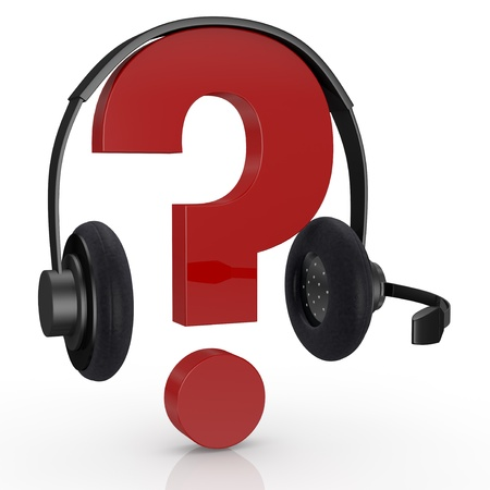 headset symbol: question mark symbol with headphones and mic, concept of online help desk (3d render)