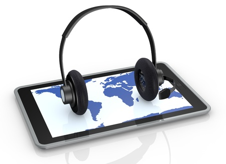one tablet pc with a world map on the screen and headphones over it, concept of global communications or online help desk (3d render) Stock Photo - 14936369