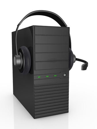 one computer with headphones, concept of help desk or online communication (3d render) photo