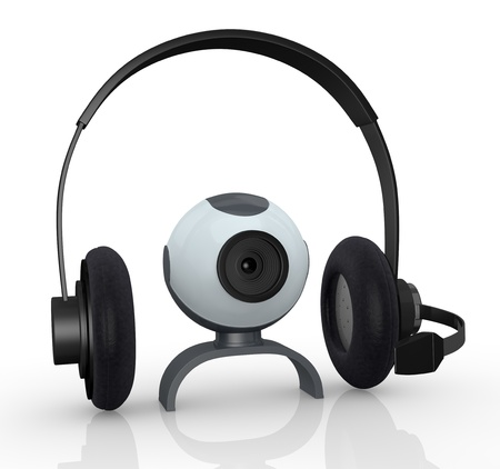 headphones with mic and a webcam, concept of online communications (3d render) photo