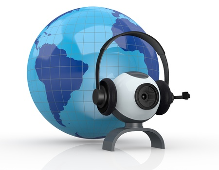 web cam: world globe with headphones, mic and a webcam (3d render)