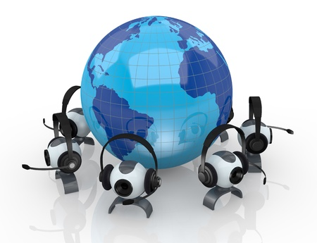 world globe with headphones, mic and webcam around it (3d render) Stock Photo - 14936378