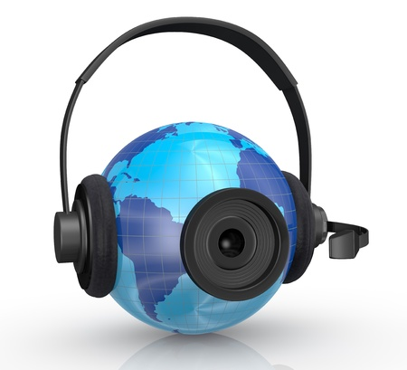 one world globe with headphones,mic and a webcam, concept of global communications (3d render) photo