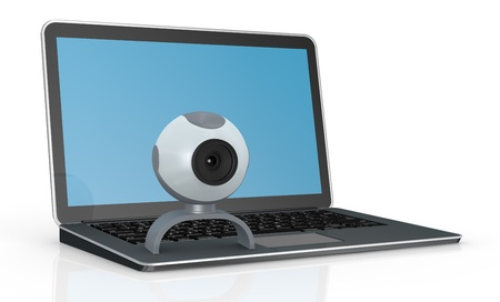 one computer notebook with a webcam (3d render) photo